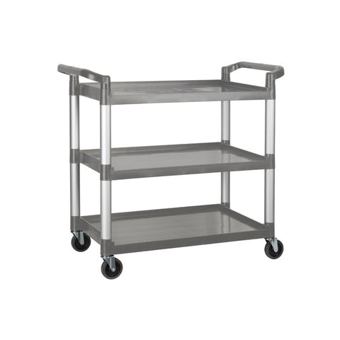 "Winco 40.75"" x 19.5"" x 37.4"" Grey 3-Tier Utility Cart - UC-3019G"