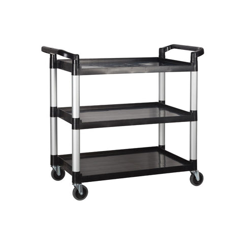 "Winco 40.75"" x 19.5"" x 37.4"" Black 3-Tier Utility Cart - UC-3019K"