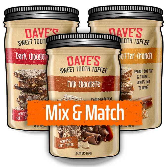 Mix & Match - 3 Pouch Option Best Toffee | Dave's Sweet Tooth Toffee
