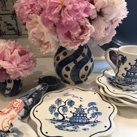 Blue Scalloped Chinoiserie Salad/Dessert Plates