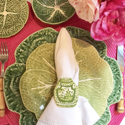 Green Pagoda Ginger Jar Napkin Ring - Set of 4