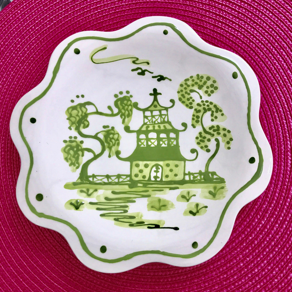 Green Chinoiserie Scalloped Salad/Dessert Plate