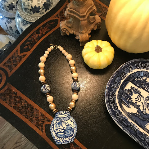 Blue Ginger Jar Necklace