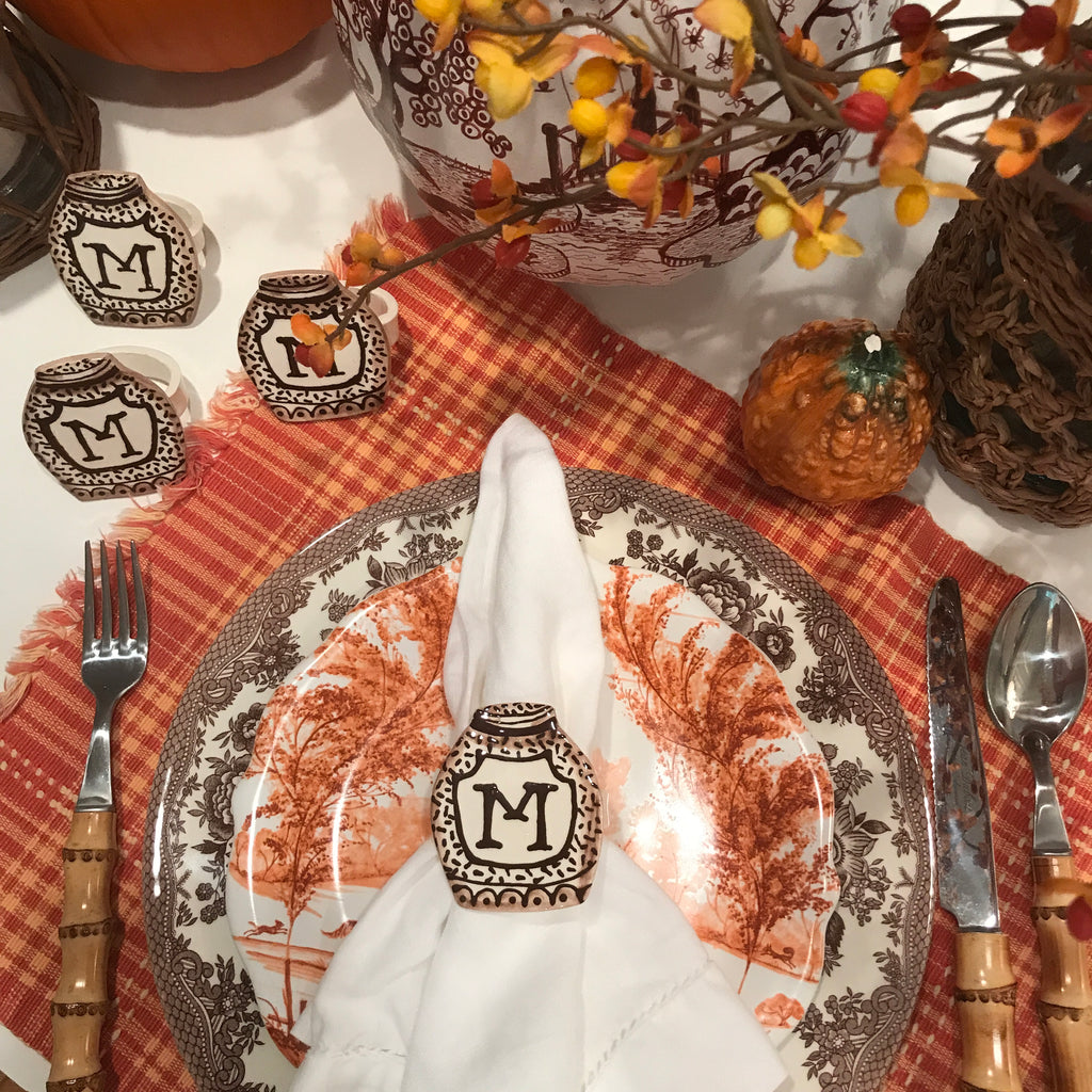 Brown Initial Napkin Rings