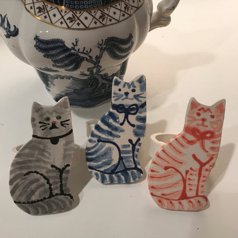 Striped Cat Napkin Ring - Set of 4