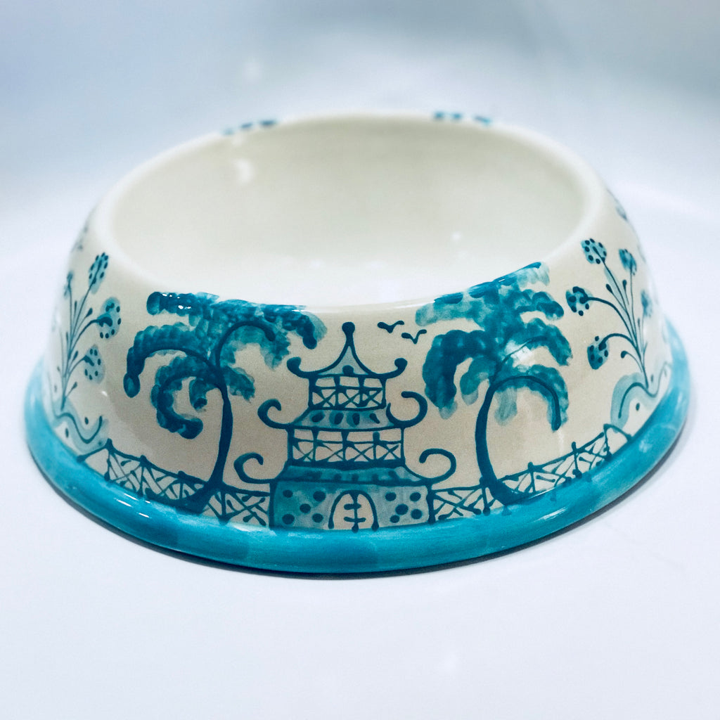 Caribbean Blue Chinoiserie Dog Bowl