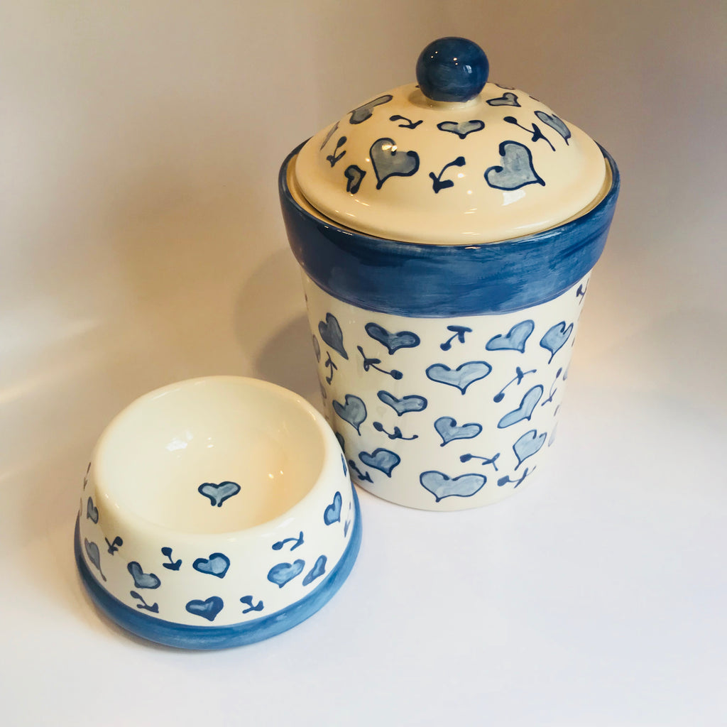 Blue Heart Dog Bowl
