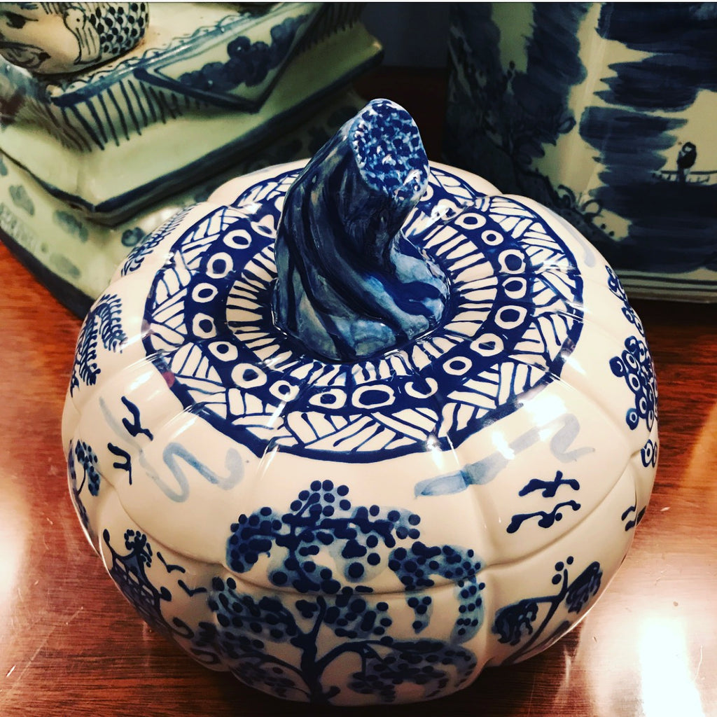 Blue Hand Painted Pumpkin Tureen