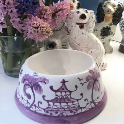 Lavender Chinoiserie Dog Bowl