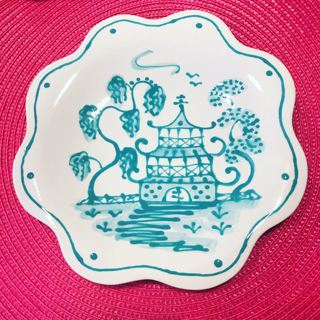 Caribbean Blue Scalloped Chinoiserie Salad/Dessert Plates