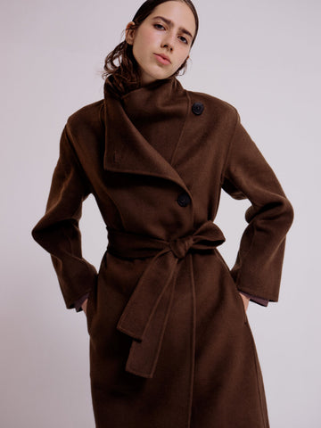 MIJEONG PARK CASHMERE BLEND HANDMADE BELTED COAT - OLIVE BROWN