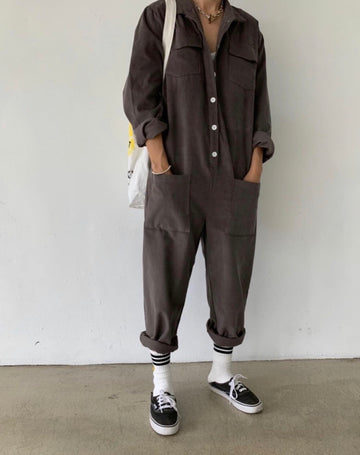 Corduroy Jumpsuit in Charcoal