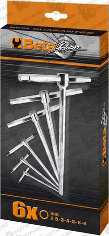 Beta Tools Set of 6 T-handle Wrenches with Three Hexagon Male Ends (Metric)