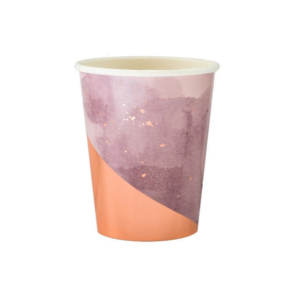 AMETHYST PURPLE WATERCOLOUR<BR>CUPS (8 pack)