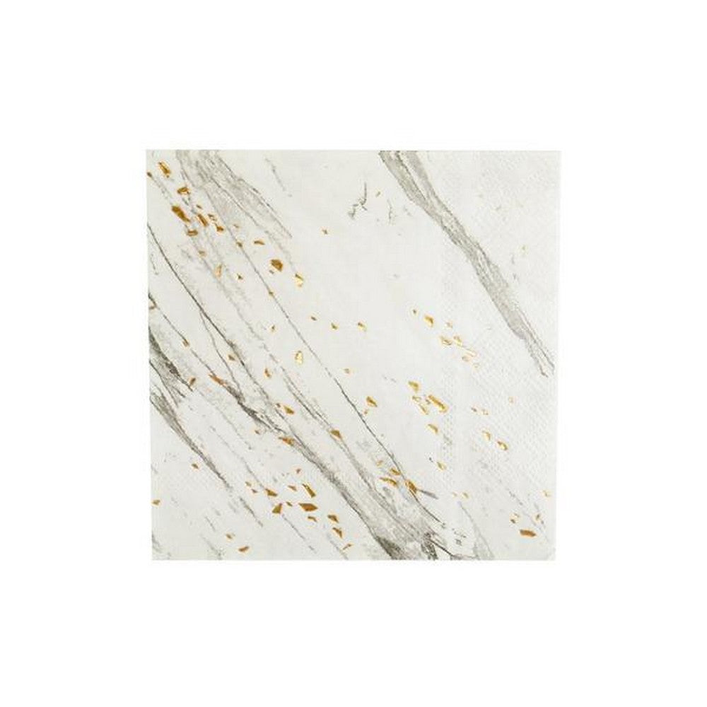 BLANC WHITE MARBLE <BR>COCKTAIL NAPKINS (20 pack)
