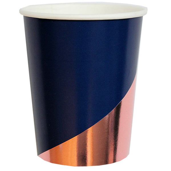 ERIKA NAVY COLOUR BLOCK <BR>CUPS (8 pack)