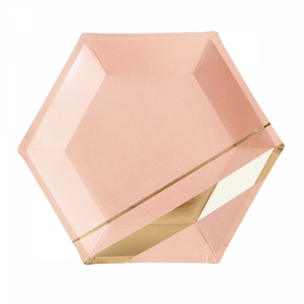 BLUSH HEXAGON PLATES <BR>(8 pack)