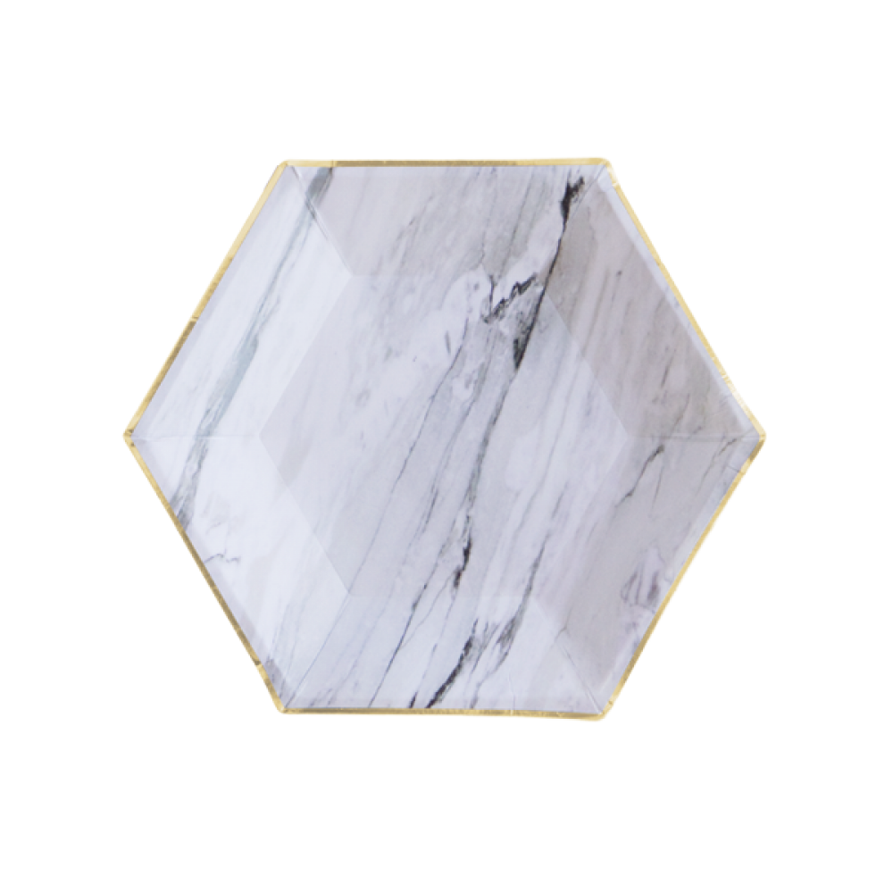 MARBLE HEXAGON<BR>PARTY PLATE (8 pack)