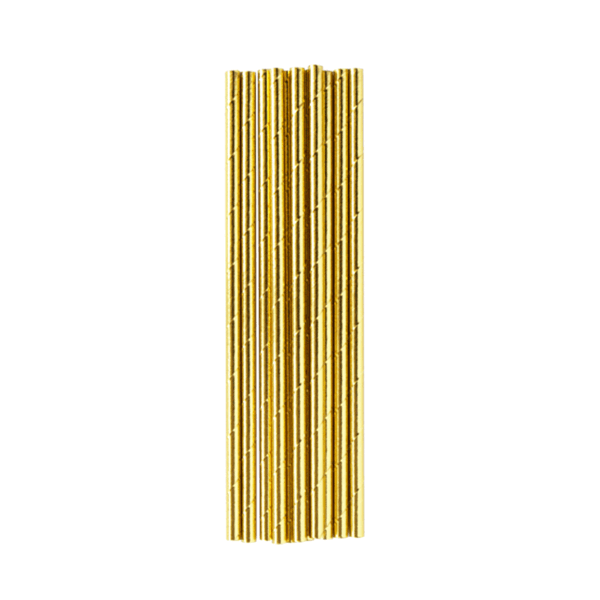 GOLD METALLIC STRAWS<BR> (25 pack)