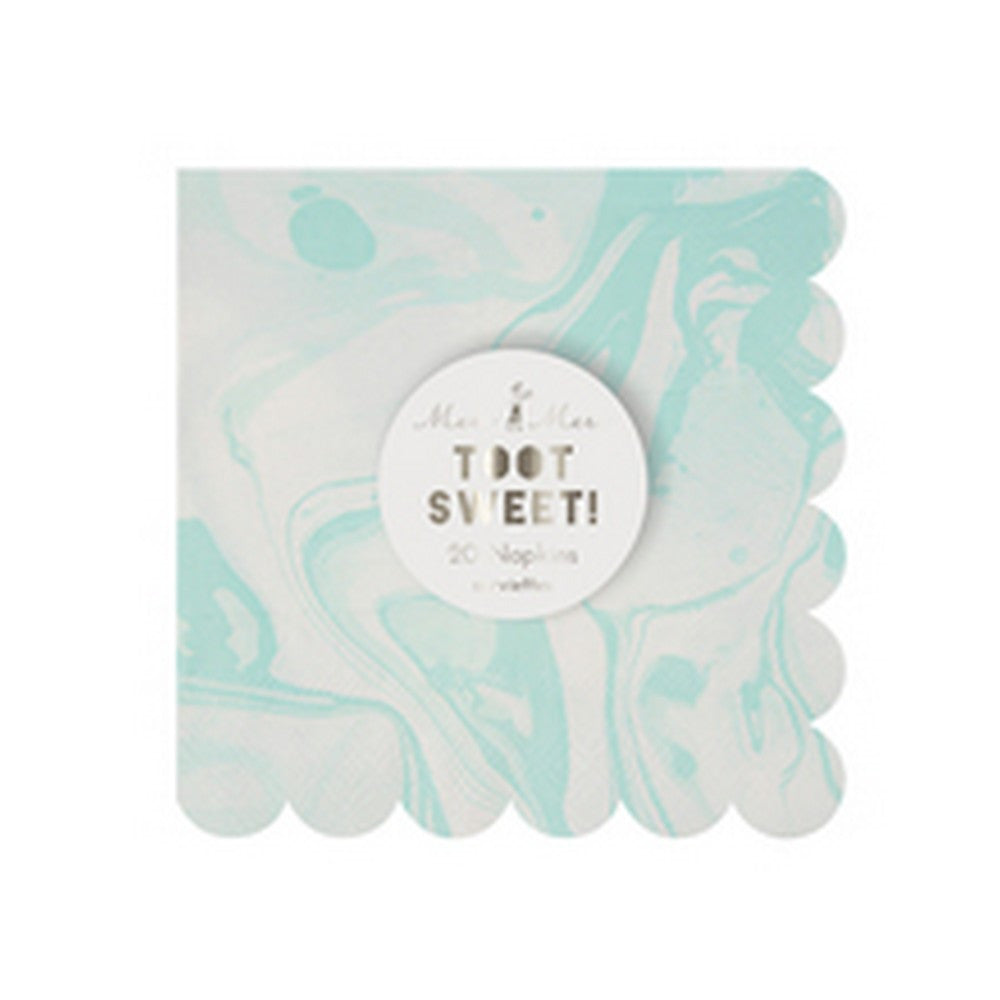 MINT MARBLE<BR>SMALL NAPKINS (20 pack)