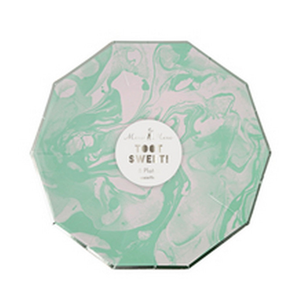 MINT MARBLE<BR>SMALL PLATES (8 pack)
