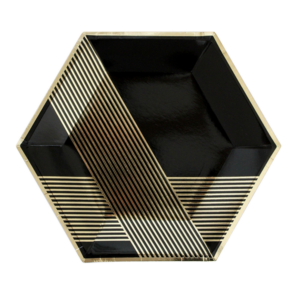 NOIR - BLACK HEXAGON <BR>LARGE PLATES (8 pack)