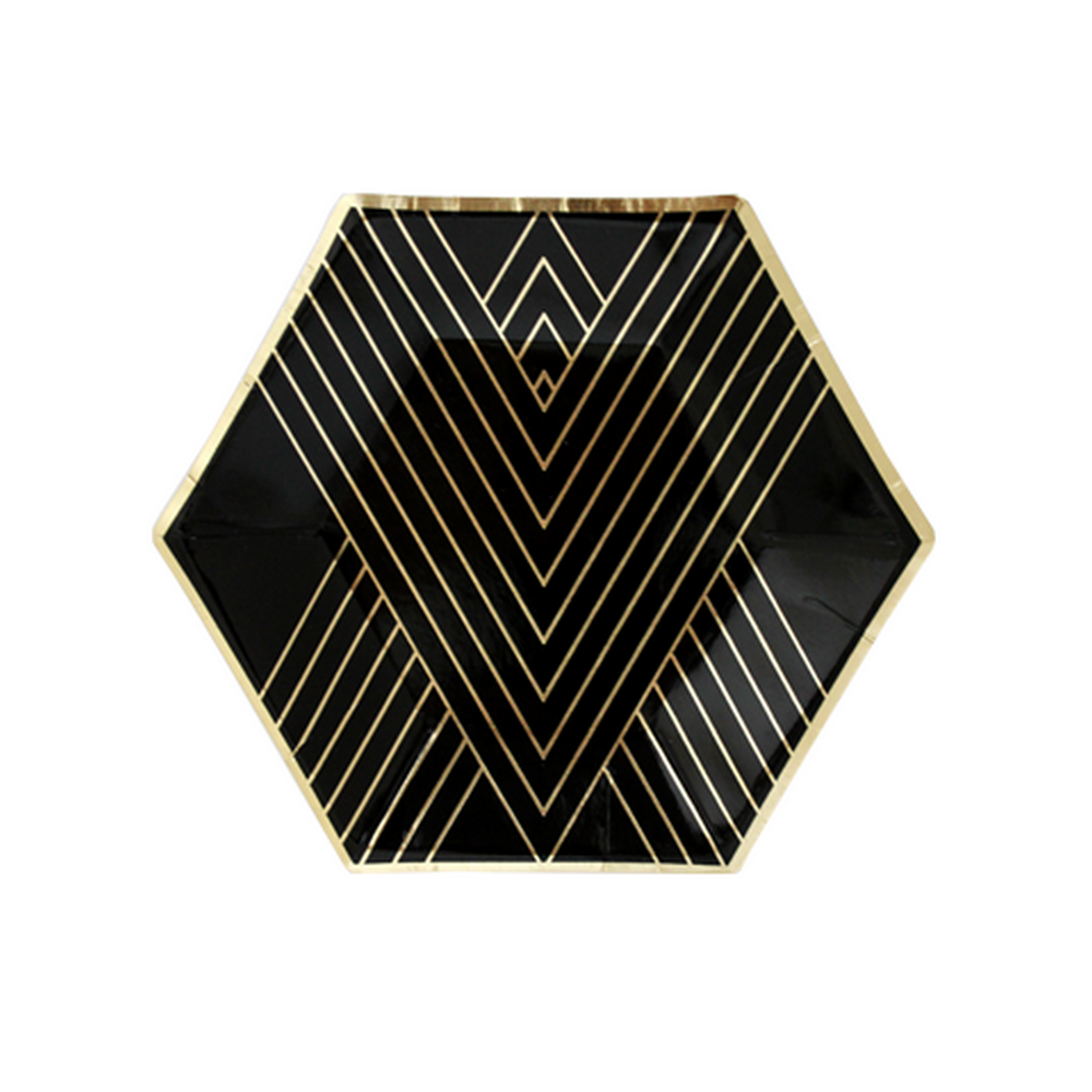 NOIR - BLACK HEXAGON <BR>SMALL PLATES (8 pack)