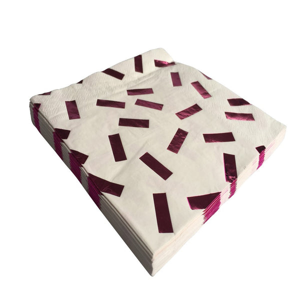 PINK METALLIC CONFETTI <BR>NAPKINS (20 pack)