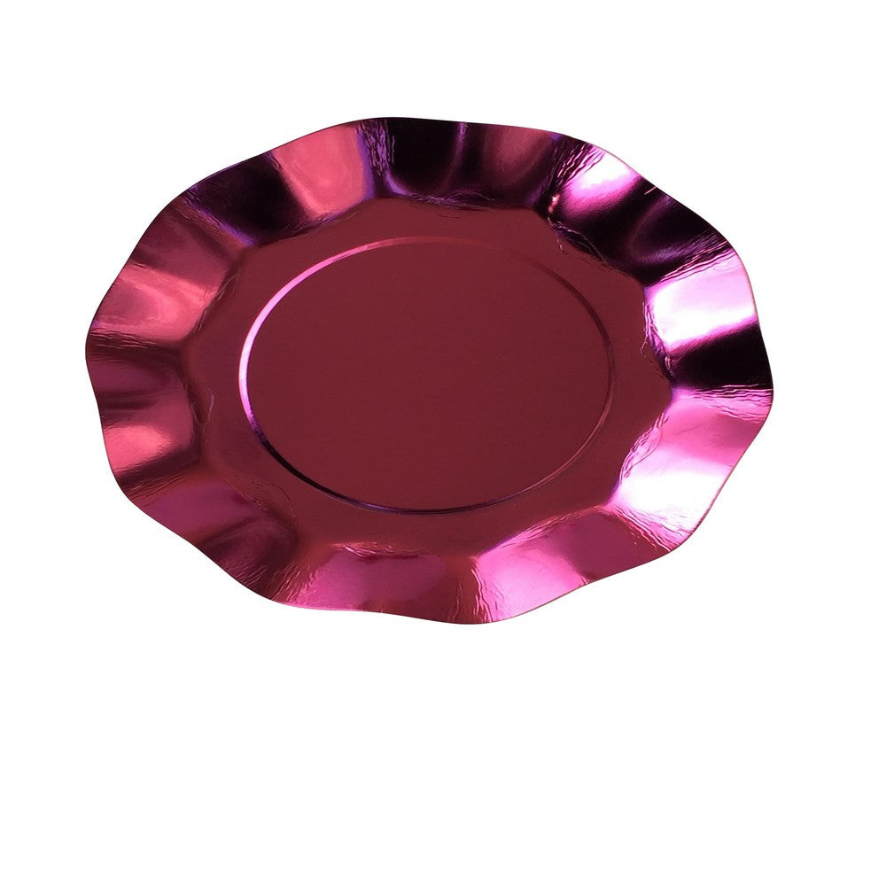 METALLIC PINK RUFFLED <BR>PLATE (10 pack)