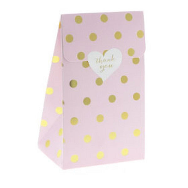 PINK WITH GOLD FOIL POLKADOT TREAT BOX BAG (12 pack)