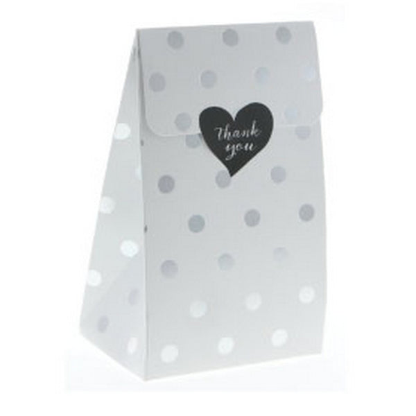 WHITE WITH SILVER FOIL POLKADOT TREAT BOX BAG (12 pack)
