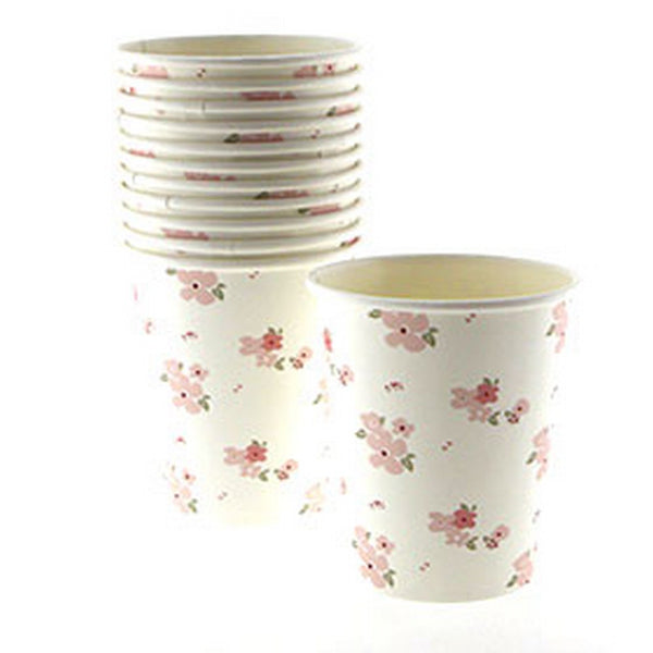 WHITE FLORAL CUPS <BR>(12 pack)