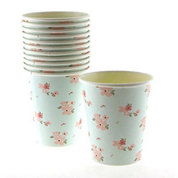 BLUE FLORAL CUPS (12 pack)