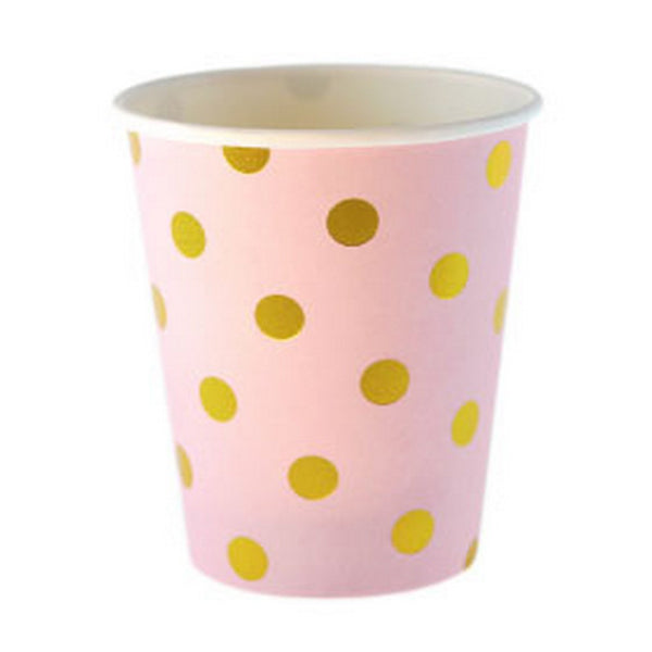 PINK WITH GOLD FOIL POLKADOT CUPS (12 pack)