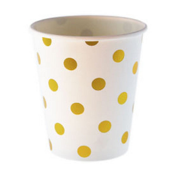 WHITE WITH GOLD FOIL POLKADOT CUPS (12 pack)