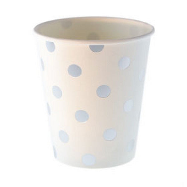 WHITE WITH SILVER FOIL POLKADOT CUPS (12 pack)