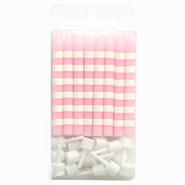 PINK CANDY STRIPE<BR>CANDLES (16 pack)