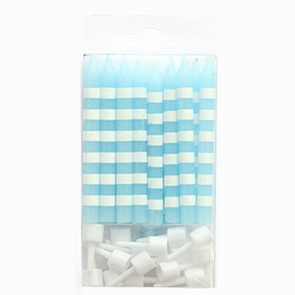 BLUE CANDY STRIPE CANDLES (16 pack)