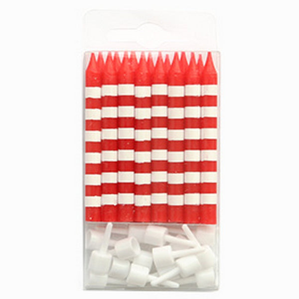 RED CANDY STRIPE<BR> CANDLES (16 pack)