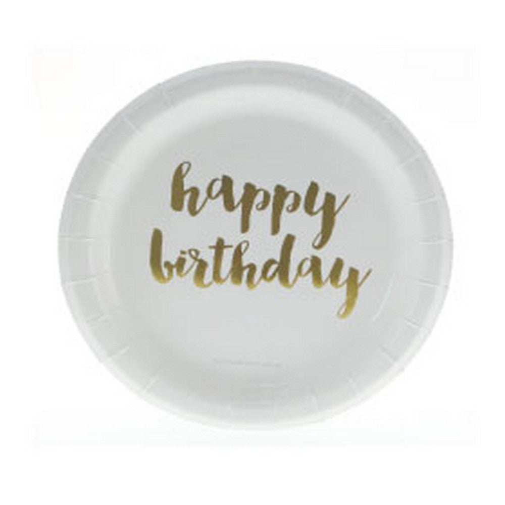 "GOLD FOIL ""HAPPY BIRTHDAY"" CAKE PLATES<BR> (12 pack)"