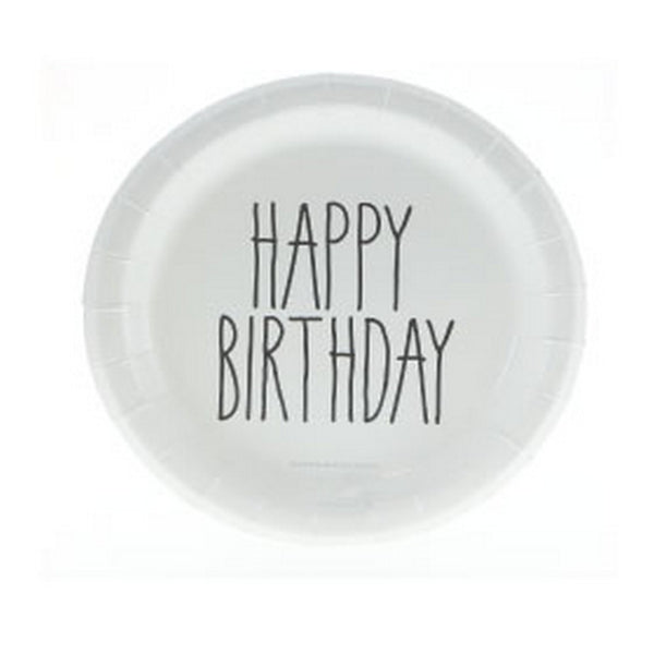 "BLACK PRINT ""HAPPY BIRTHDAY"" CAKE PLATES<BR> (12 pack)"