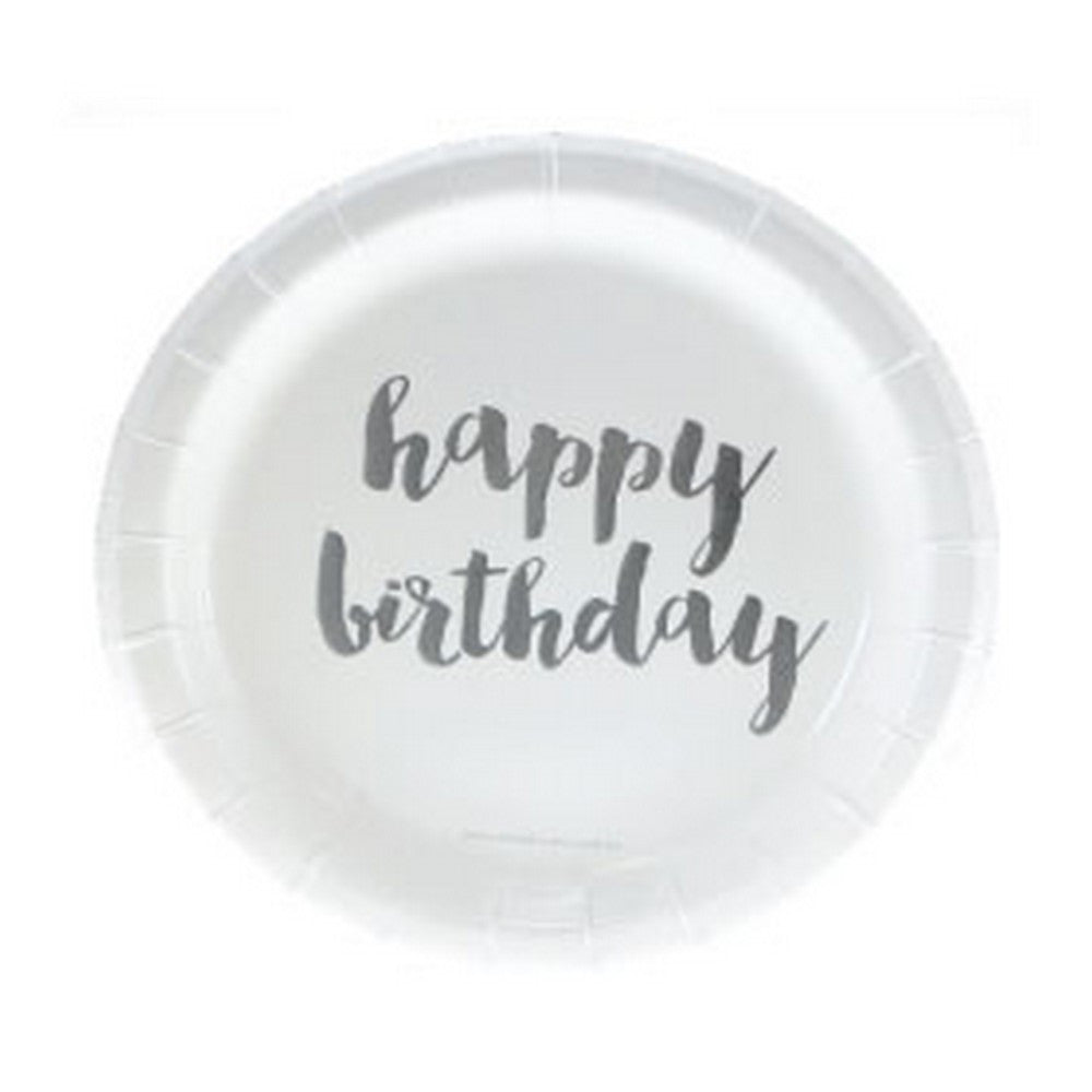 SILVER FOIL HAPPY BIRTHDAY CAKE PLATES 12 Pack
