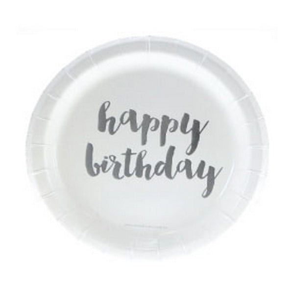 "SILVER FOIL ""HAPPY BIRTHDAY"" CAKE PLATES<BR> (12 pack)"