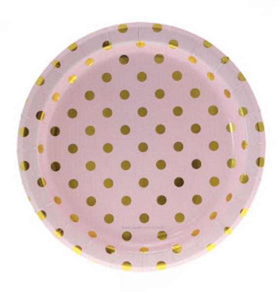 PINK WITH GOLD FOIL POLKADOT PLATES (12 pack)