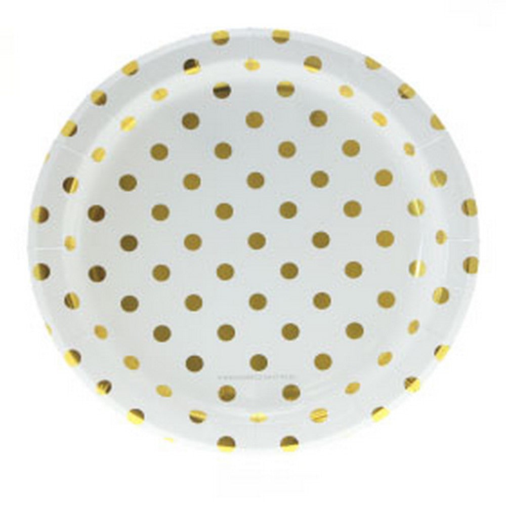 WHITE WITH GOLD FOIL POLKADOT PLATES (12 pack)