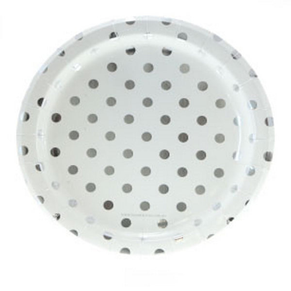 WHITE WITH SILVER FOIL POLKADOT PLATES (12 pack)