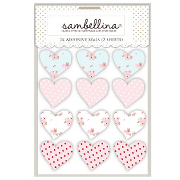 SWEET FLORAL<BR> HEART STICKERS (12 pack)