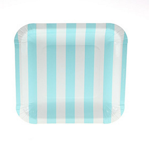 BLUE CANDY STRIPE <BR> SQUARE PLATES (12 pack)