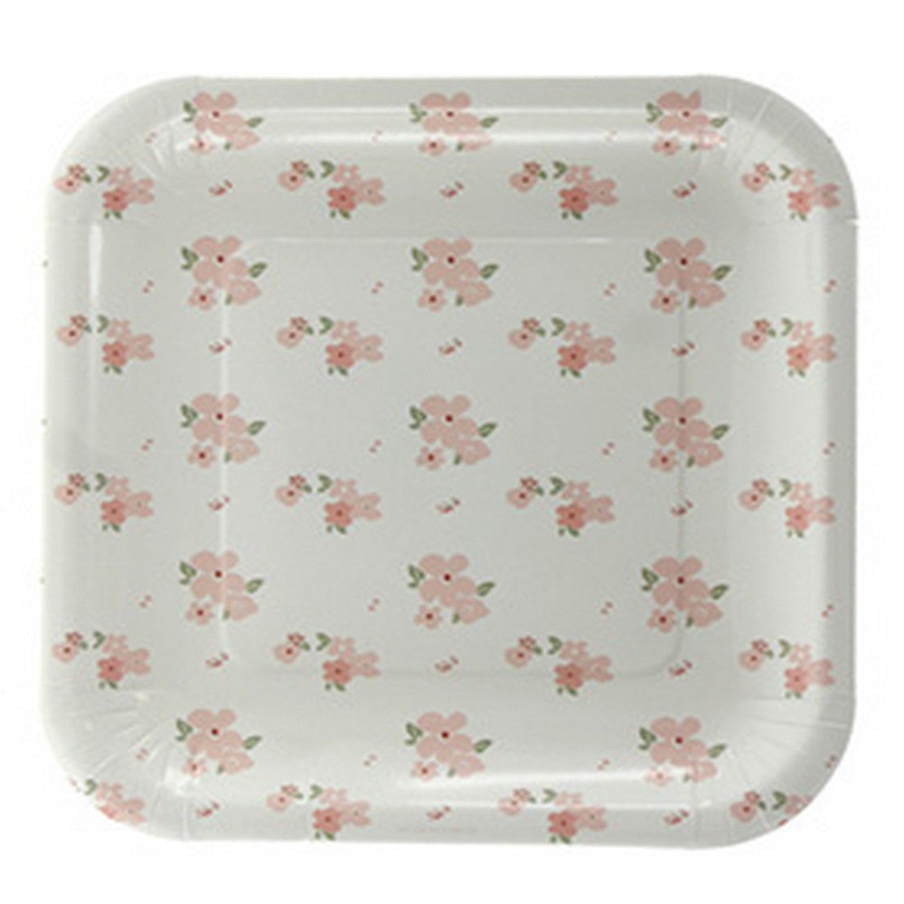 WHITE FLORAL<BR> SQUARE PLATES (12 pack)