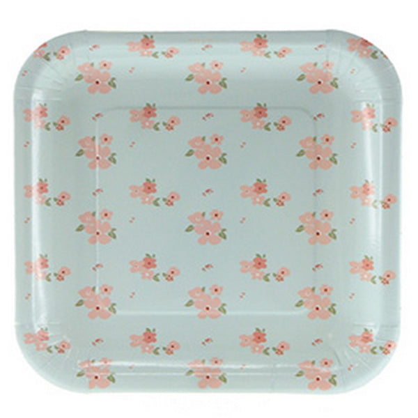 BLUE FLORAL<BR>SQUARE PLATES (12 pack)
